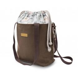 EKO LEATHER BROWN ZAMSZ handbag+ TROLLEY HANDLES