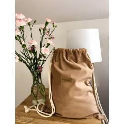 worek plecak welurowy karmelowy