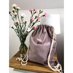 plecak worek welurowy liliowy